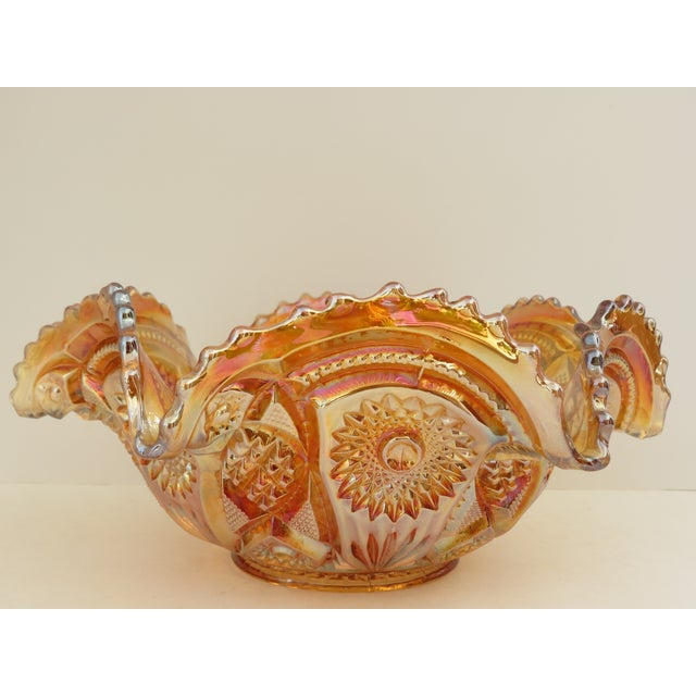 Imperial Glass Co. Marigold Ruffled Glass Bowl - Image 2 of 6