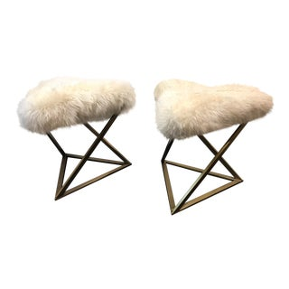 Modern Lee Industries Faux-Fur Upholstered Triangular Stools - a Pair For Sale
