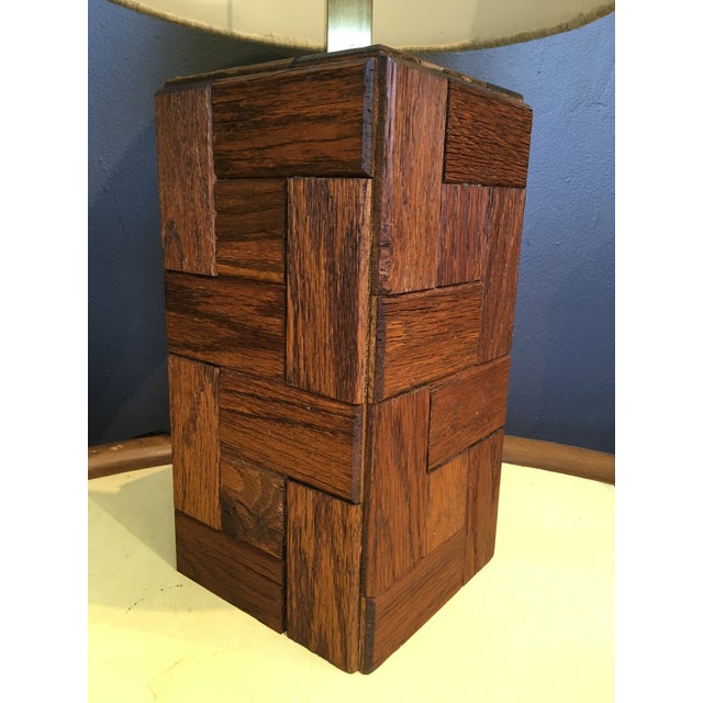 Mid-Century table lamp. Handcrafted of rectangular shaped pieces of oak.