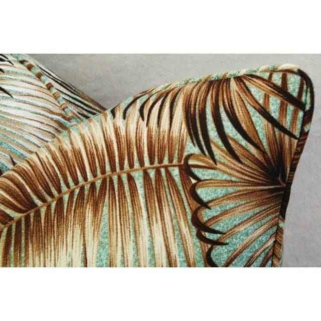 Mid-Century Palm Leaves Barkcloth Pillows - Pair - Image 8 of 9