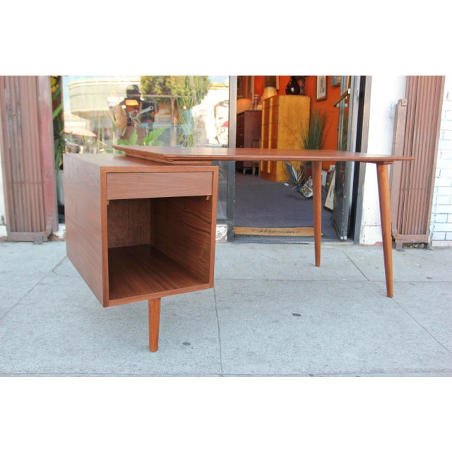 Transparent Mid-Century Style Walnut Desk For Sale - Image 8 of 13