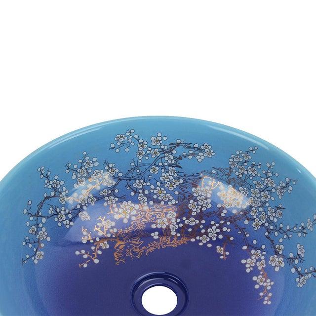2010s Pasargad DC Modern Navy Blue Motif Sink Bowl For Sale - Image 5 of 6