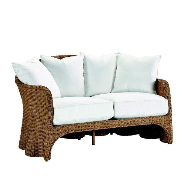 Contemporary Celerie Kemble - Crespi Wave Outdoor Loveseat For Sale - Image 3 of 3