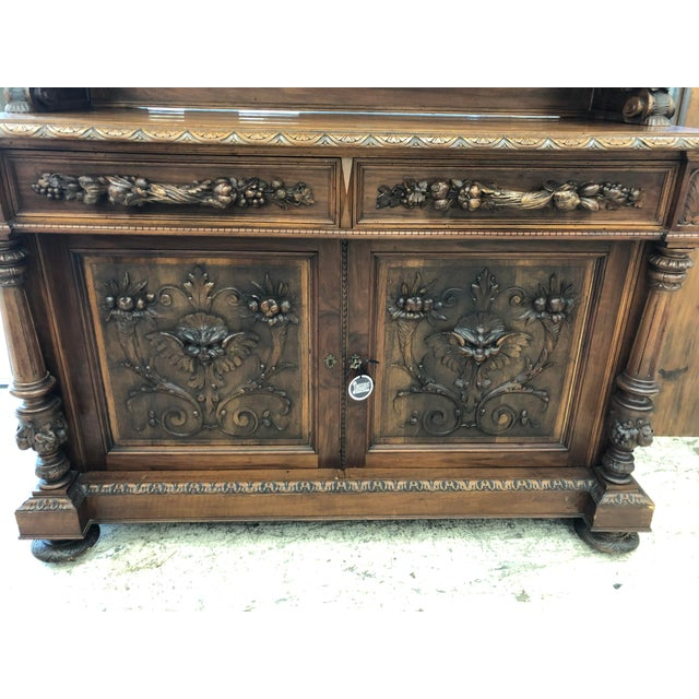 19th Century St. Hubert French Louis XIII Carved Walnut Buffet For Sale - Image 4 of 11
