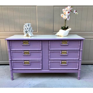 1970s Orchid Faux Bamboo 6 Drawer Dresser Preview