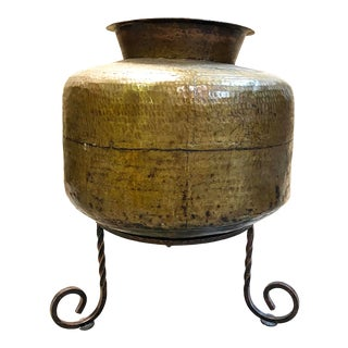 Large Hand Hammered Brass Pot on Hand Forged Wrought Iron Tripod Stand - Set of 2 For Sale