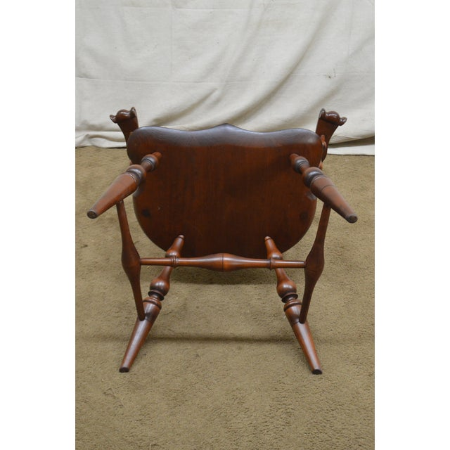 Custom Quality Pair of Solid Cherry Windsor Armchairs For Sale - Image 4 of 13