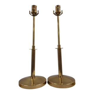 Vintage Ethan Allen Brass Candlestick Lamps - a Pair For Sale