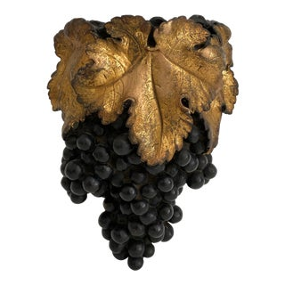 1940s Italian Sculpted Grapes Wall Pocket Vase. For Sale