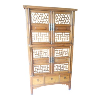 Antique Chinese Asian Kitchen Linen Storage Cabinet