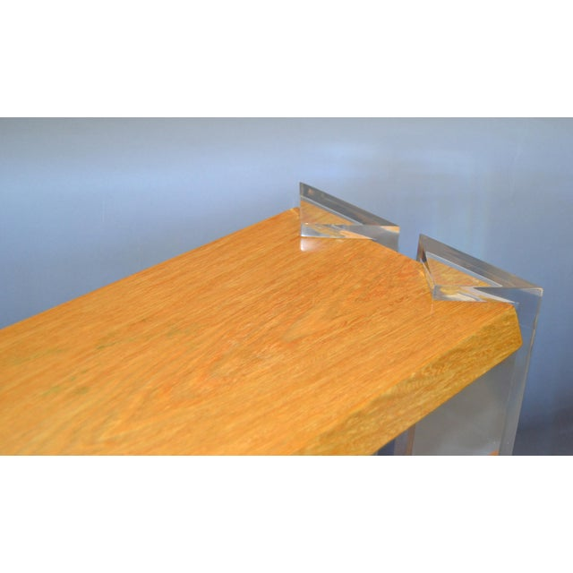 Wood Italian Mid-Century Modern Oak & Acrylic Two Tier Console Table Bookshelf, 1960s For Sale - Image 7 of 13