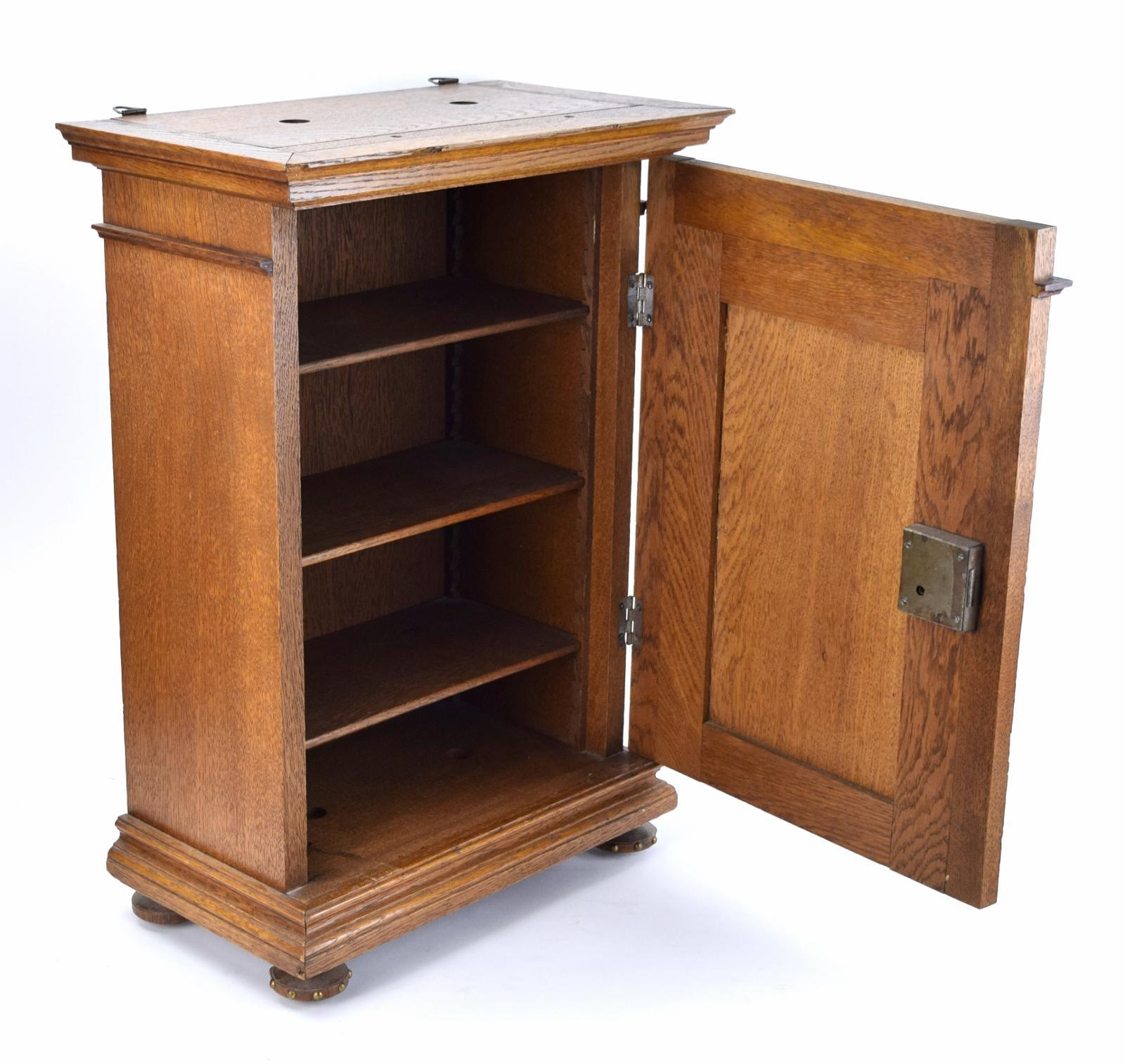 Gothic Revival Oak Locking Wall Cabinet   Image 7 Of 10