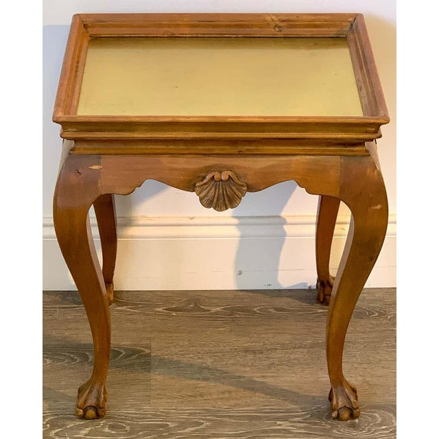 Neoclassical Diminutive Bleached Wood & Brass Side Table For Sale - Image 3 of 7