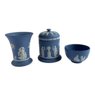 Wedgwood Cornflower Blue Vases - Set of 3 For Sale