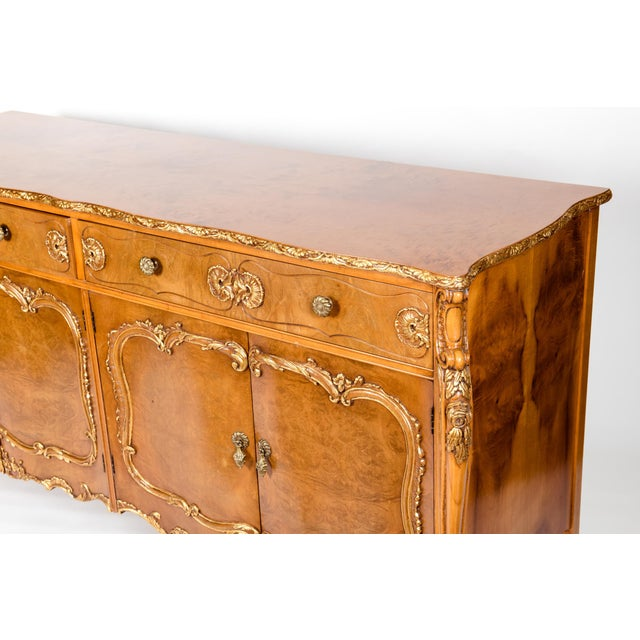 20th Century Burlwood Sideboard with Gold Design Details For Sale - Image 11 of 12