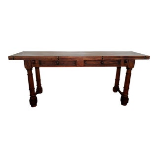 Rustic Convertible Planked Trestle Style Console/Dining Table For Sale