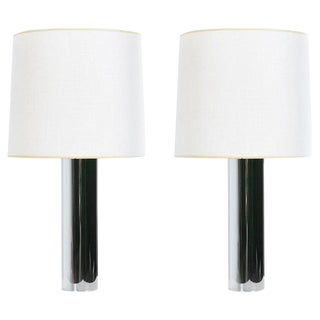 George Kovacs Style Minimalist 1970s Chrome Cylinder Table Lamps With Shades For Sale