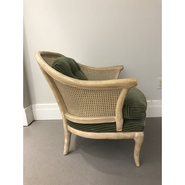 1960s Faux Bois / Cane Arm Chair With Green Corduroy For Sale In Detroit - Image 6 of 13