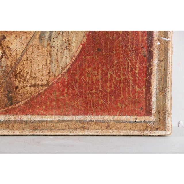 Large Fresco Painting on Wood of Grecian Man & Woman by Jacques Lamy - Image 6 of 9