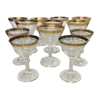 1930s Vintage Federal Glass Optic Pressed Glassware - Set of 12 For Sale