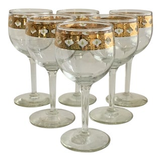 Culver Valencia Gold & Green Wine Glasses - Set of 6