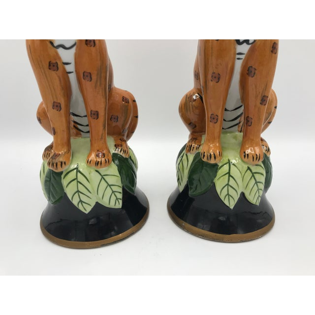 1980s Leopard Sculpture Candlestick Holders, Pair For Sale - Image 4 of 9