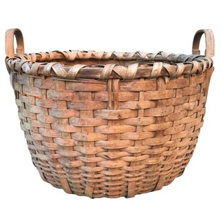 19th Century Splint Oak Bushel Basket For Sale