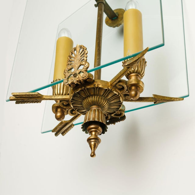 French Classic Brass and Glass Lantern For Sale - Image 9 of 12