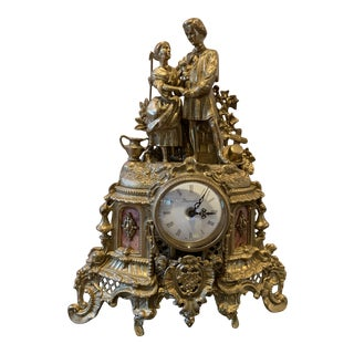 Vintage Italian Romantic Couple Brass Mantel Clock For Sale