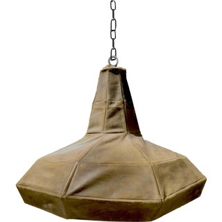 Goatskin Organic Form Hand-Stitched Leather Pendant Light For Sale