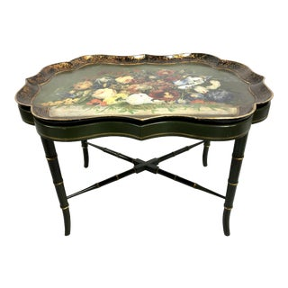 Regency Style Floral Painted Faux Bamboo Tray Table For Sale