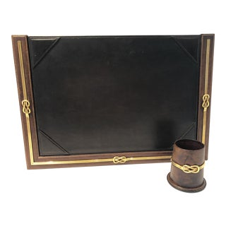 Vintage Gucci Signed Italian Desk Set - 2 Pieces For Sale