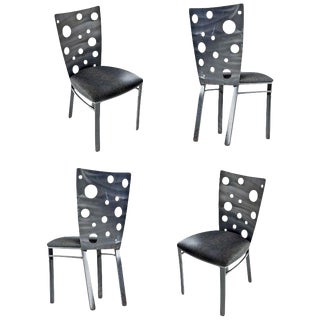 Snake Skin Vinyl Brutalist Style Dining Chairs by Johnston Casuals Furniture For Sale