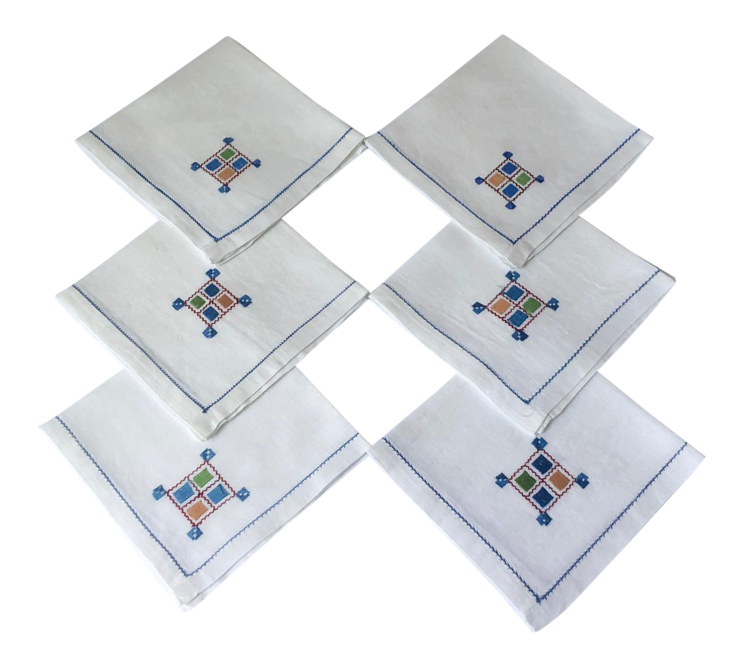 Vintage Linen Napkins With Geometric Embroidery Cocktail Drinks Set Of 6 Chairish