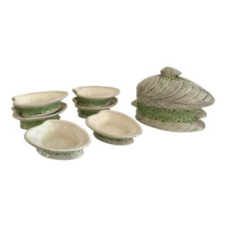 Ceramic Seafood Clams Mussel Covered Bowl and Set of Six Small Dishes For Sale