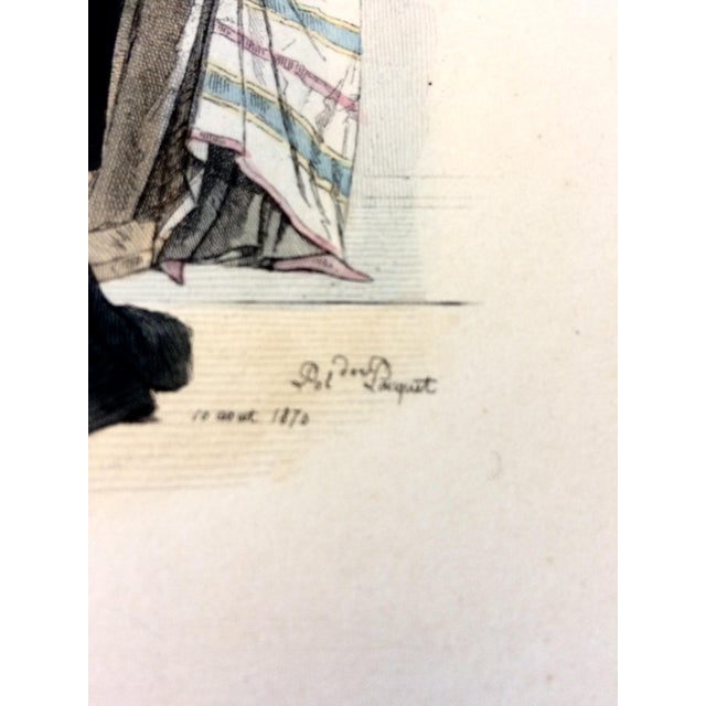 """Paper 19th Century Century Antique French Original Engraving Historic Fashion Plate, Hand-Tinted - """"Femmes Arabes."""" For Sale - Image 7 of 11"""