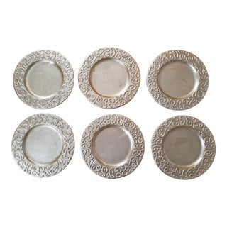Vintage Late 20th Century Italian Gold Leaf Charger Plates - Set of 6 For Sale