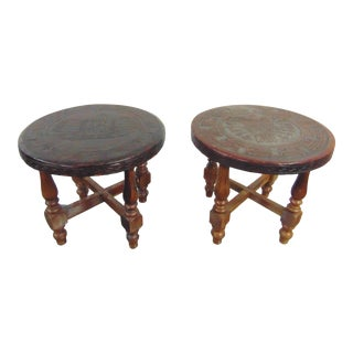 Mid Century Aztec Style Leather Embossed Footstools - a Pair For Sale