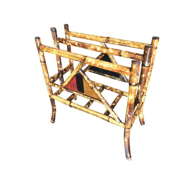 Restored Tiger Bamboo Magazine Rack With Divider - Image 6 of 6