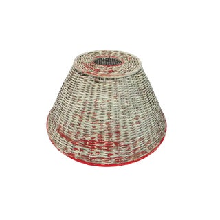 Antique Distressed Wicker Lamp Shade Wabi Sabi Decor For Sale