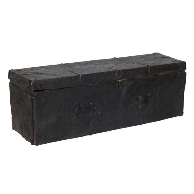 Tibetan Black Wood Leather & Iron Trunk For Sale