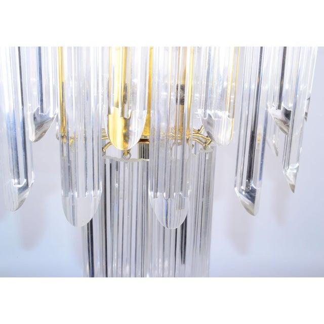 Mid-Century Modern Lucite & Brass Chandelier - Image 10 of 10