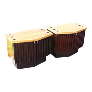 Mid Century Ribbed Front Side Tables by Lane