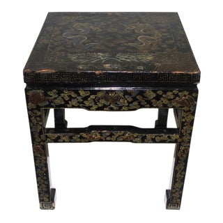 Antique Chinese Black Lacquer Asian Occasional Garden Stool Table