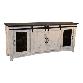 """Crafters and Weavers Greenview Sliding Door Distressed White Tv Stand - 80"""" For Sale"""