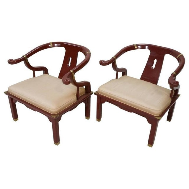 James Mont Style Century Red Horseshoe Back Lounge Chairs - a Pair For Sale - Image 9 of 9