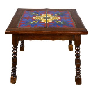 Catalina California Taylor or Mission Arts & Crafts Style Spanish Tile Top Side or End Table For Sale
