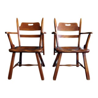 Cushman Vermont Hard Rock Maple Americana Arm Chairs by Herman DeVries - a Pair For Sale