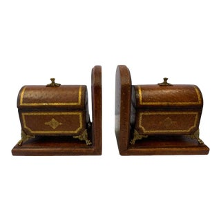 Faux Ostrich Leather Maitland Smith Bookends With Decorative Boxes That Open - a Pair For Sale