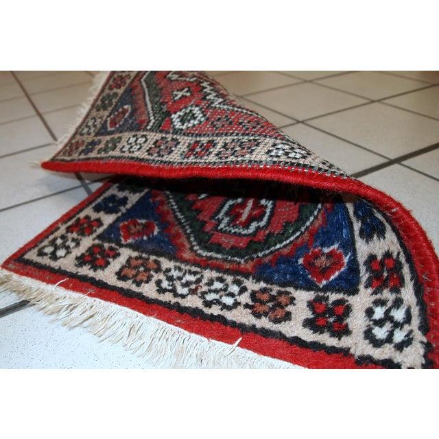 Textile 1970s, Handmade Vintage Persian Hamadan Rug 1.3' X 1.9' For Sale - Image 7 of 10